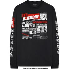 Tričko s dlhým rukávom Lies Cover, Unisex, Čierna,