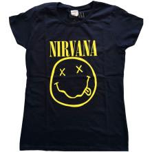 Tričko Yellow Smiley, Žena, Modrá,