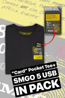 Tričko Card Pocket Tee + SMGO5 USB, Muž, Čierna,